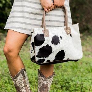 NEW Cowhide & Leather Bucket Bag